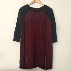 LF Long Length Color Block Sweater with Zipper
